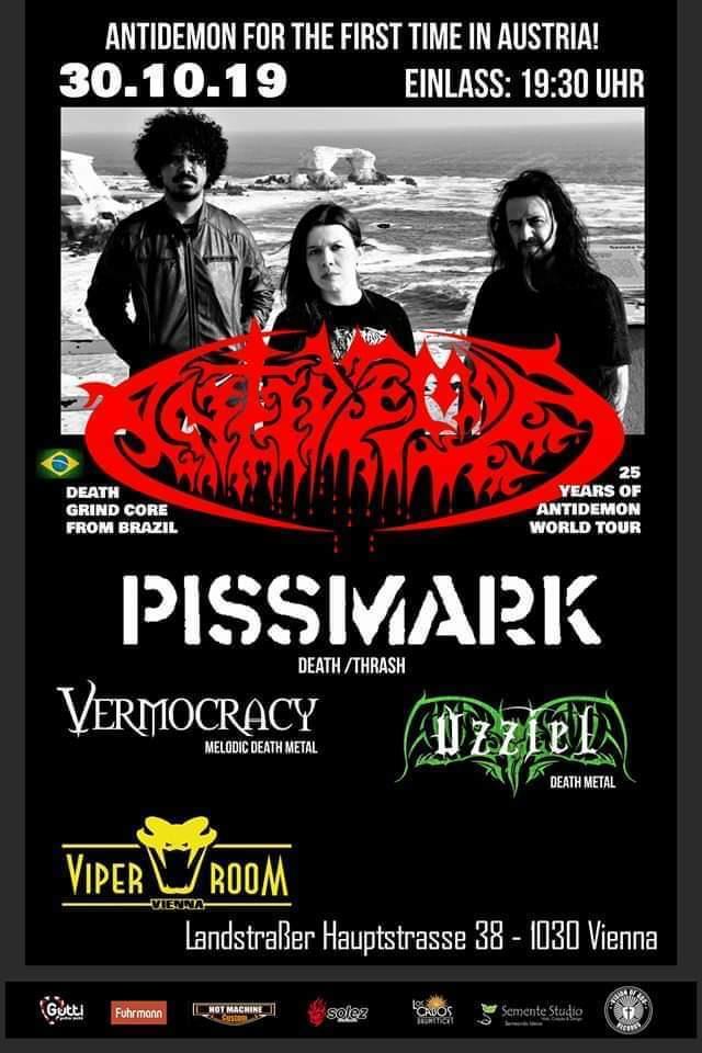 Antidemon in Vienna Austria, show with bands Pissmark, Vermocracy, Uzziel